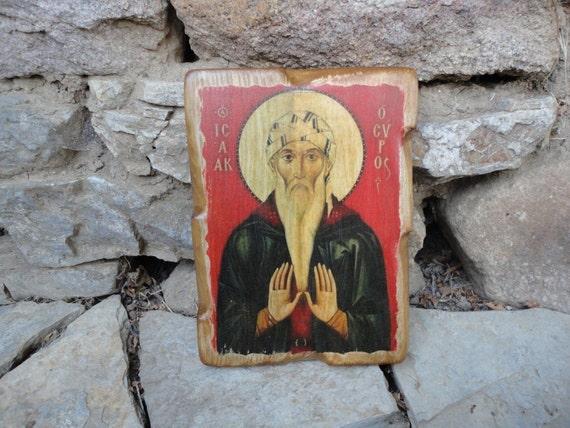 Vintage Saint Isaac Issac bois sculpture icône fait à la main peint Christian religieux
