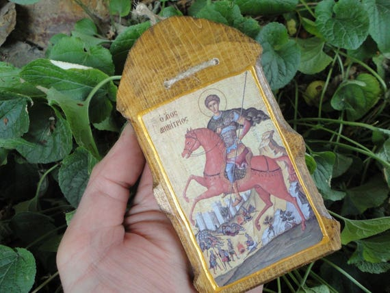 tallando madera Santo Dimitrius Religin Cristiana Mano Tallando Madera Icono Hecho A Mano