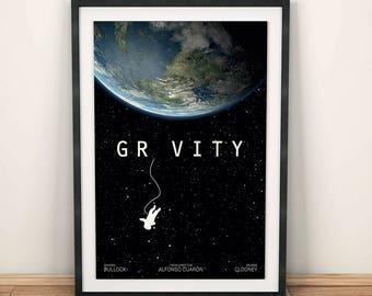 Gravity , poster alternativo, Sandra Bullock, George Clooney, Alfonso Cuaron, astronauta nasa,spóster de pelicula, cartel retro, ilustración
