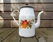 Vintage enamelled coffee maker, white enamel kettle and flower motifs - retro teapot, French jug coffee pot or vase, enamel shabby France
