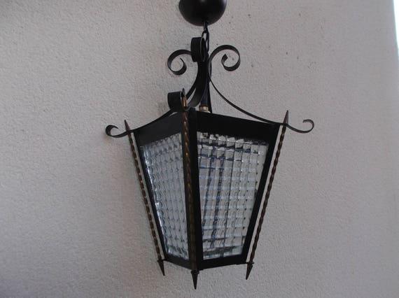 Lustre Lanterne En Fer Forge Avec Vitres Epaisses A Facettes