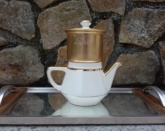 earthenware coffee maker with gilded Villeroy and Boch filter salam in gilded aluminium, coffee maker Salam decorative Art Vintage France