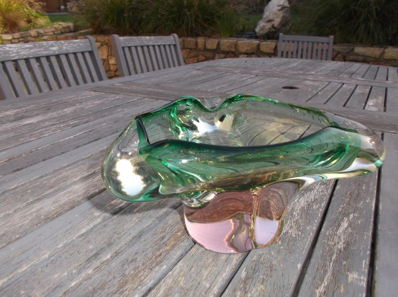 Large glass centrer in syle glass Murano Gift for Smoker green and pink cup or vacuum-pocket design Vintage Glass 1980