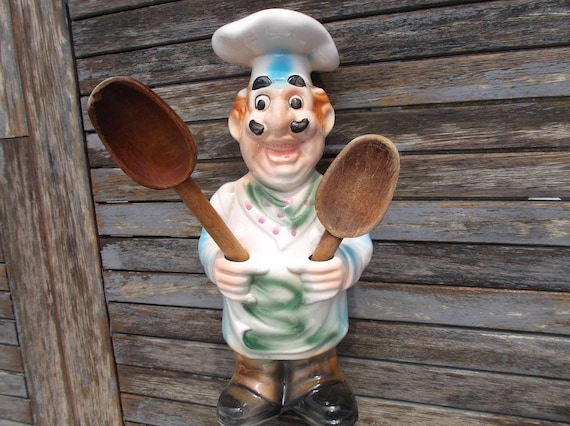 Poterie Chef Cuisinier Boulanger Patissier Décoratif Français Vintage Pour Rangements Ustensiles De Cuisine Statuette Boulanger Rétro