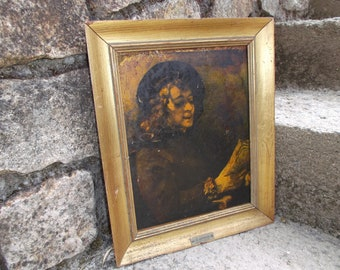 Gilded frame with reproduction of a painting by Rembrandt, Titus Van Rijn, the son of the artist, reading - Faux Rembrandt Vintage 1950