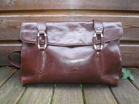 373c68138a1f Vintage leather handbag Brown chocolate Francinel Paris