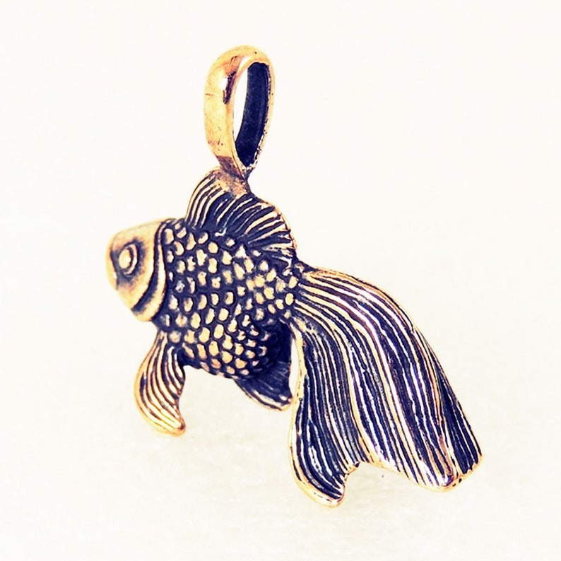 Goldfish Pendant Keychain Bronze Charm