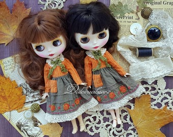 Blythe dress handmade for autumn season