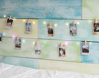 LED String Light with 10 wooden clips to display your Instant photos, Instax photos, post cards.