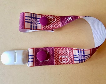 Pacifier clip Ribbon grosgrain with white plastic clip luxury brand