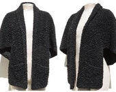 Vintage 50s FAUX FUR Curly Astrakhan Lamb Vegan Cape Shawl Wrap Open Jacket Stole Black w Pockets One Size