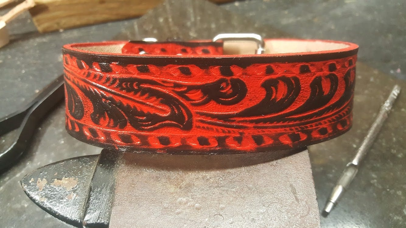 872cc8d26677 Black and Red Dog Collar hand crafted custom made. Leather | Etsy