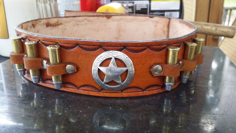 fec92b384913 The Real deal Leather Dog Collar Western Sheriff Collar/ | Etsy