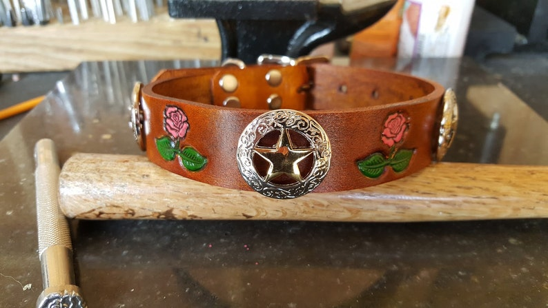 2b68d04d6a43 Dog Collar Leather Western star Roses Hand Crafted Custom | Etsy
