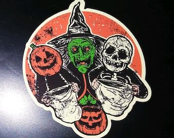 STICKER- 3 Halloween Trick or Treaters HORROR movie III witch masks jackolantern skull skeleton