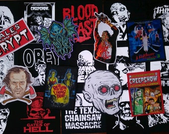 Random Lot of 10 Horror patches - Monsters, Halloween, horror movies - screen printed, woven, embroidered
