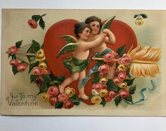 Vintage Valentine Postcard 1900's Made in Germany To My Valentine Two Cupids with heart and arrow with roses Valentine Ephemera