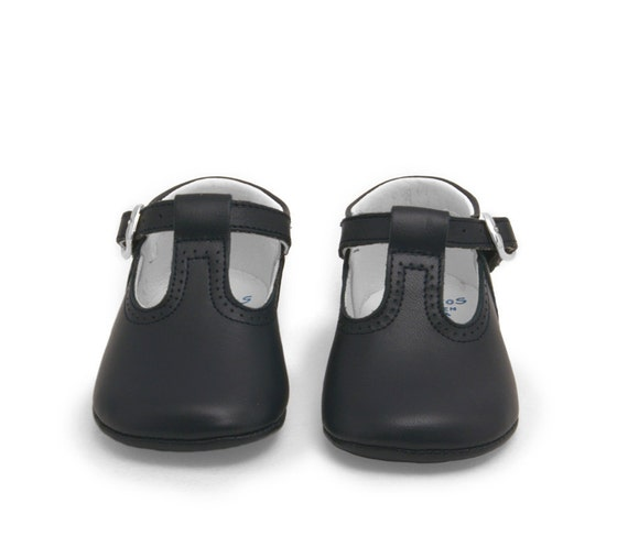 Leather Baby Shoes T-Strap Dark Navy