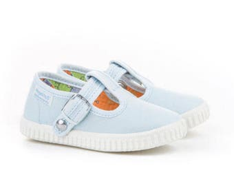 Toddler Canvas Sneaker,Baby blue Canvas T-strap sneakers for Babies and Kids, t strap shoes,T bar shoes, toddler shoe