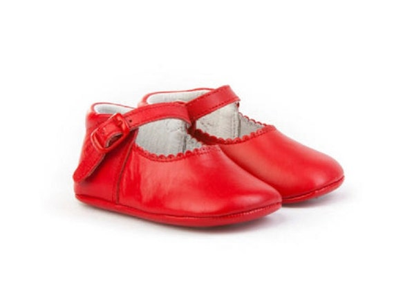 Red Leather Mary Janes soft sole baby