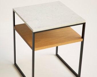 Trio Bedside Table - Marble/Steel/Blackbutt