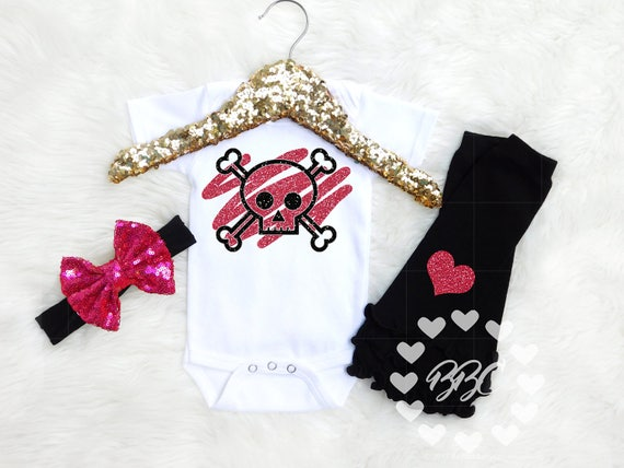Baby Girl Clothes Skull And Crossbones Goth Baby Baby Girl Etsy