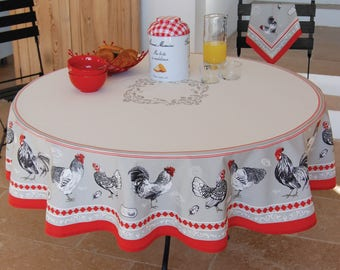 ROOSTER Acrylic Coated Round Tablecloth   French Oilcloth Tablecloths Stain  Resistant   French Country Chicken Farm House Table Decor