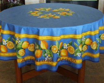 French Tablecloth LEMON BLUE Round Acrylic Coated   French Oilcloth Stain  Resistant Indoor Outdoor Tablecloths   Matching Napkins Available