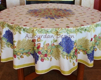 French Provence ROSES LAVENDER Acrylic Coated Round Tablecloth   French  Oilcloth Stain Resistant Tablecloths  Matching Napkins Available