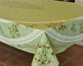 French Provence PETITE OLIVE GREEN Rectangle Acrylic Coated Tablecloth    French Country Oilcloth Indoor Outdoor   Home Table Decor Gifts