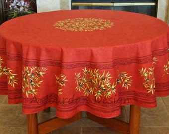Charmant French Provence PETITE OLIVE RED Acrylic Coated Round Tablecloth   French  Oilcloth Stain Resistant   Table Decor Gifts   Napkins Available