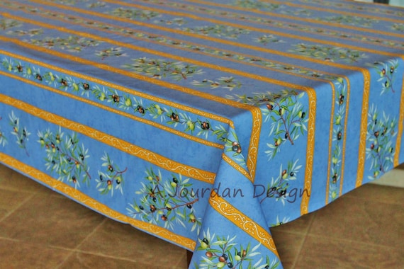PETITE OLIVE BLUE Rectangle Coated French Provence Tablecloths   French  Oilcloth Indoor Outdoor Laminated Tablecloth   Napkins Available