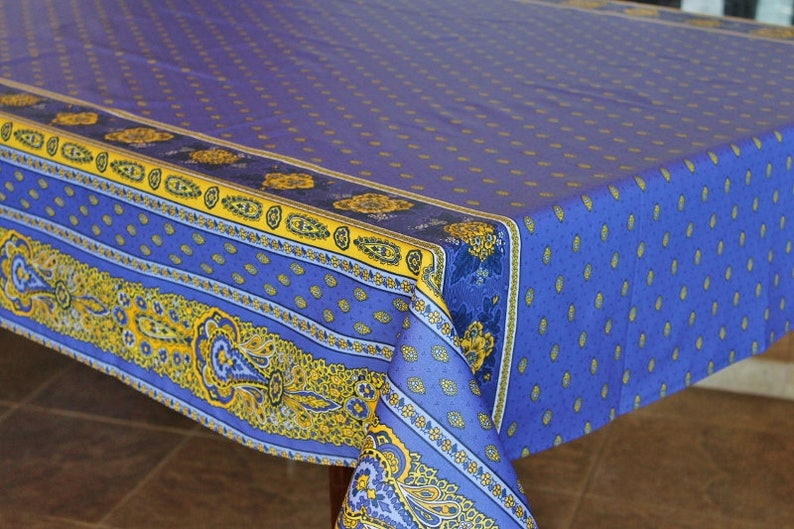 French Provence Marat BASTIDE BLUE Rectangle Cotton Tablecloths French Country Home Decor Matching Napkins Available Table Decor Gifts