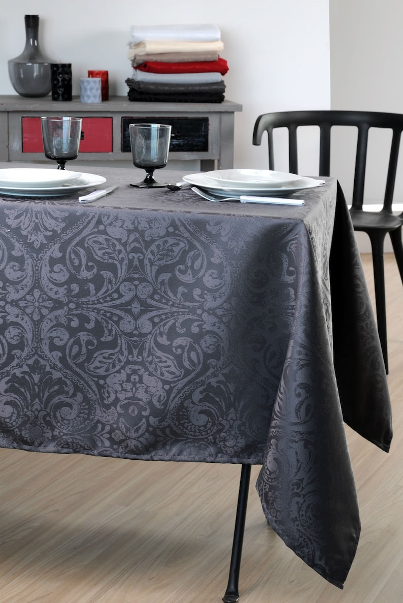 Indoor Outdoor Easy Clean Party Table Decor BELCASTEL GRAPHITE Elegant Soft Polyester WrinkleStain Resistant French Rectangle Tablecloth