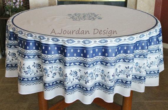 Avignon White Blue Printed Cotton 70 In, Round Table Cloths