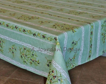 PETITE OLIVE GREEN Cotton Coated French Provence Rectangle Tablecloths - French Oilcloth Laminated Wipe Off Table Cover - Party & Home Decor