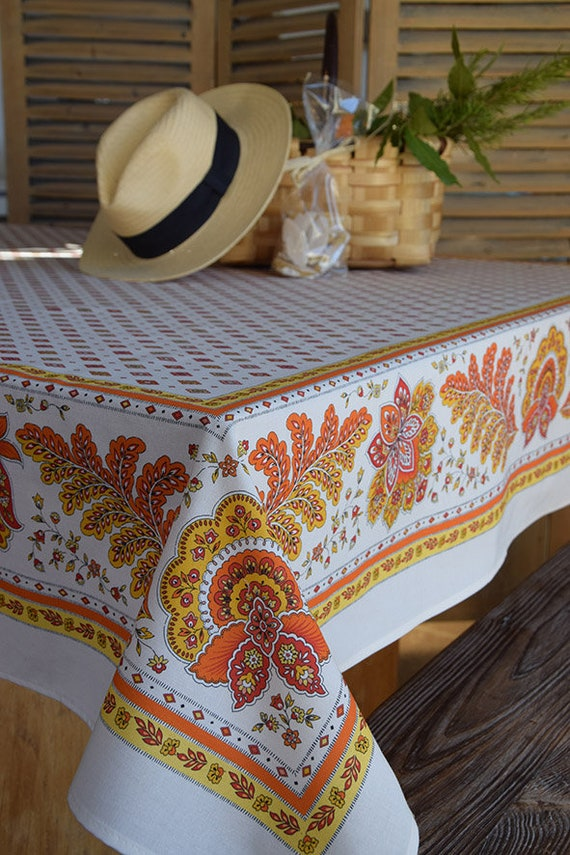 Bon NEW! PERSE ORANGE Acrylic Coated Rectangle French Tablecloths   Indoor  Outdoor Oilcloth Stain Resistant Party Table Decor   Home Decor Gifts