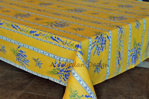 French Provence Tablecloth LAVENDER YELLOW Rectangle Acrylic Coated Stain  Proof   French Oilcloth Tablecloth   French Home Table Decor Gifts