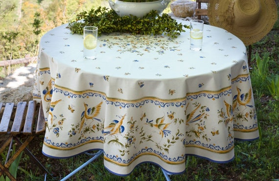 MOUSTIER BLUE Round Cotton French Provence Tablecloths   French Country  Provencal Table Decor   French Traditional Table Cloth Home Decor