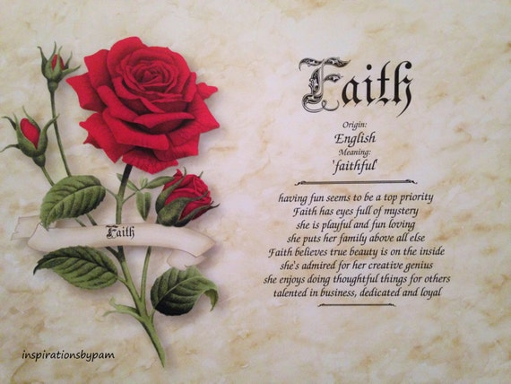 Items similar to Faith First Name Meaning Art Print-Name