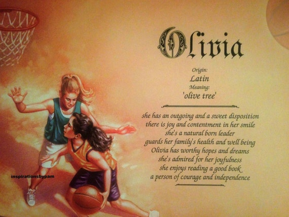 Olivia First Name Meaning Art Print-Personalized-Girl's | Etsy