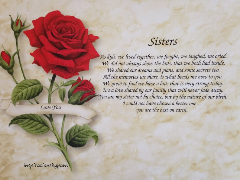 Personalized Sisters Art Print with Inspirational Poem-Red Rose Art-Home  Decor-8x10-Mother's Day-Birthday-Wedding-Valentines Day