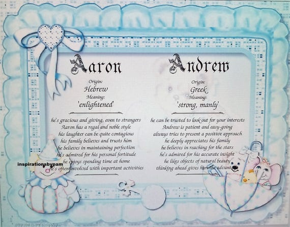 Twin boys first name meaning art print baby boy name meaning etsy image 0 stopboris Images