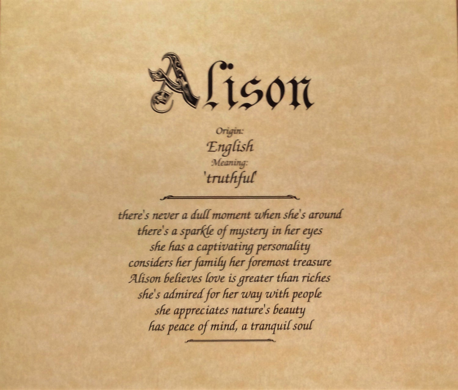 Alison First Name Meaning Art Print-Name Meaning | Etsy