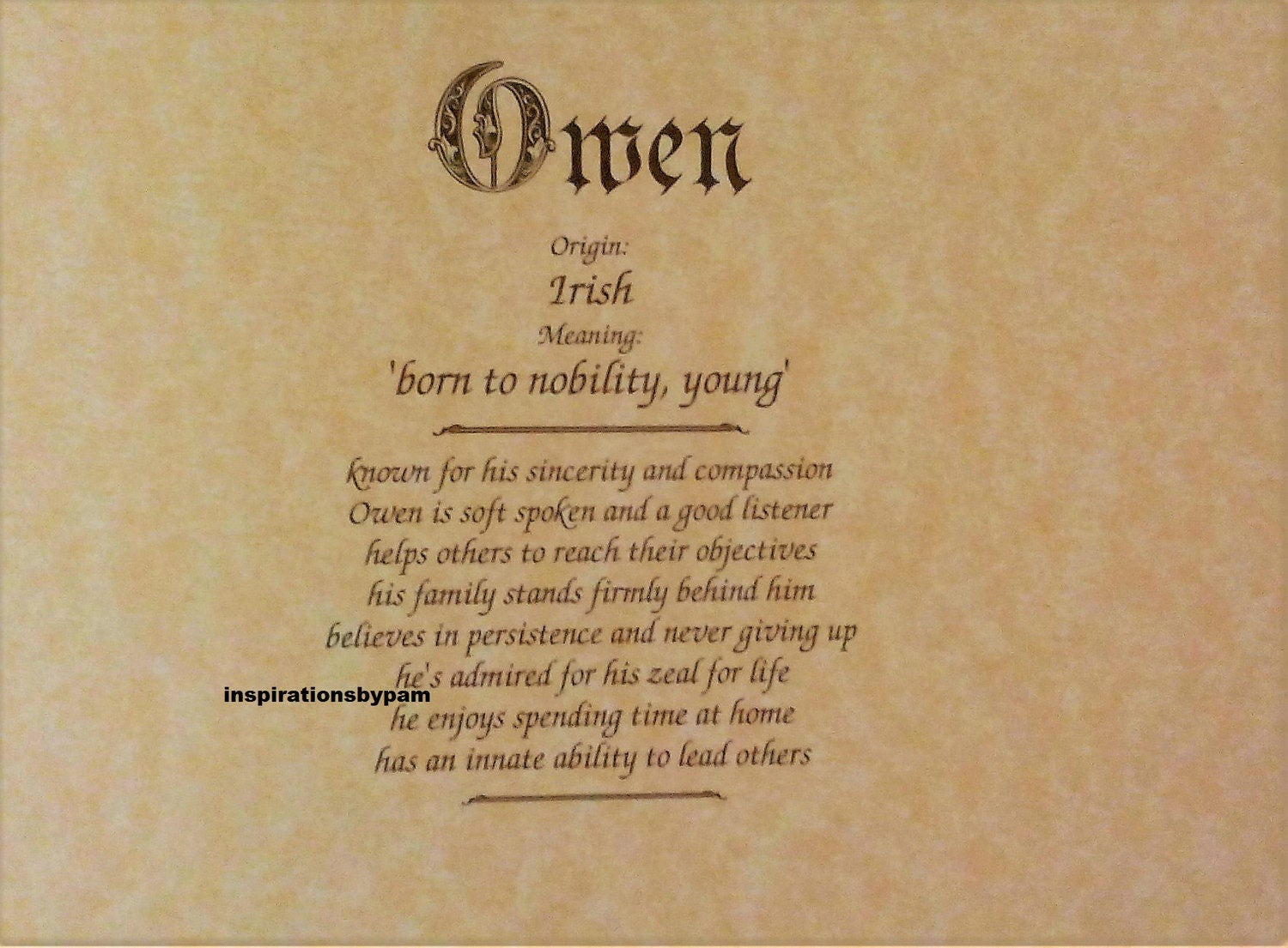 Owen First Name Meaning Art Print-Name Meaning-Parchment | Etsy