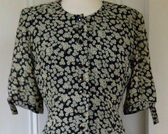 Basler Germany Floral Patterned Midi Length Dress -  Button Through - Short Sleeved - Size 10 UK - 80s
