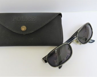 fd3fde4959 Vintage 90s Police Sunglasses - Unisex - Model 2401 - Colour 955 - Silver  Metal and Blue Plastic Frame - Original Case