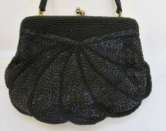 Vintage Le Soir 60's Heavily Beaded Black Evening Bag with Top Handle