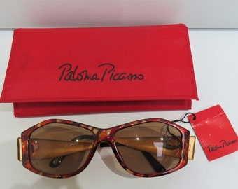 e933be4af79bc Vintage Paloma Picasso Sunglasses - 3828 Tortoiseshell - Wide Gold Arms -  100% UV Protection - Complete with Case - Unworn - Early 90s