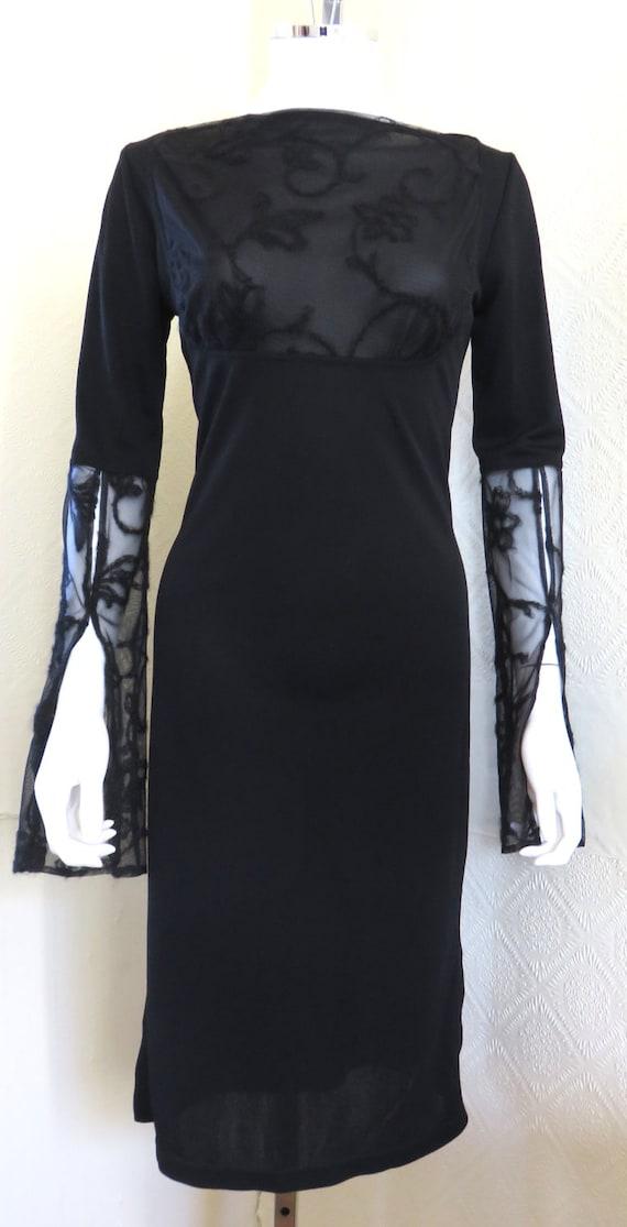 4676def8af0 Vintage Future Ozbek Black Jersey Dress with Lace Fluted